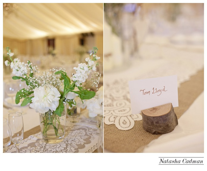 Vintage bus.White wedding. Burlap. Clifton Church. East Keswick. White hydrangeas. Wooden name holders