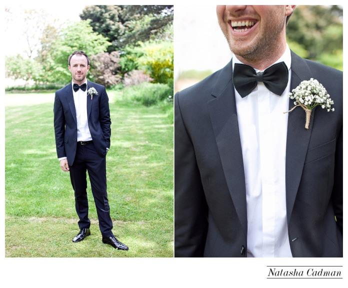 Black Tux and bow tie.White wedding. Burlap. Clifton Church. East Keswick