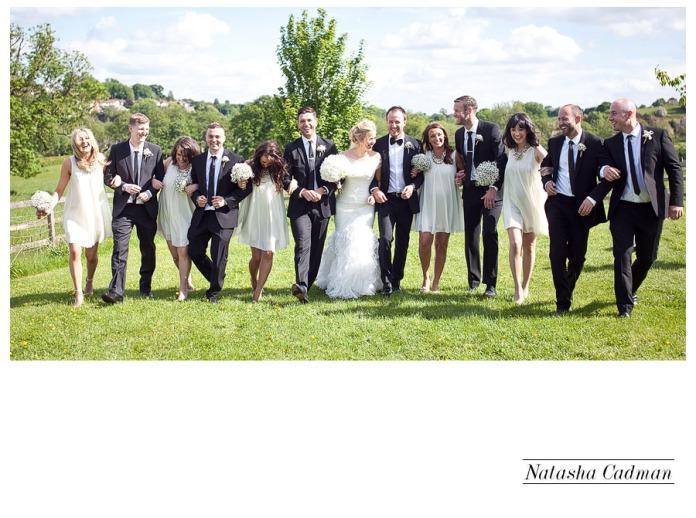 Vintage bus.White wedding. Burlap. Clifton Church. East Keswick. White hydrangeas. Cool bridal party