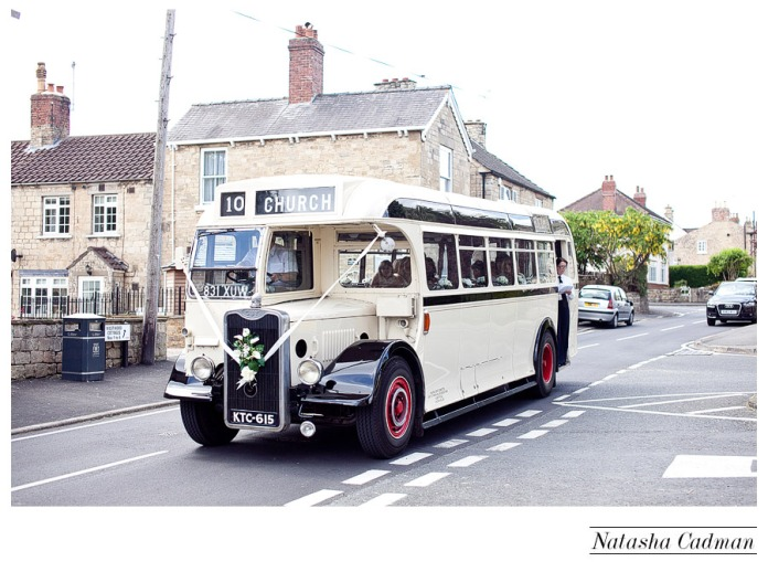 Vintage bus.White wedding. Burlap. Clifton Church. East Keswick