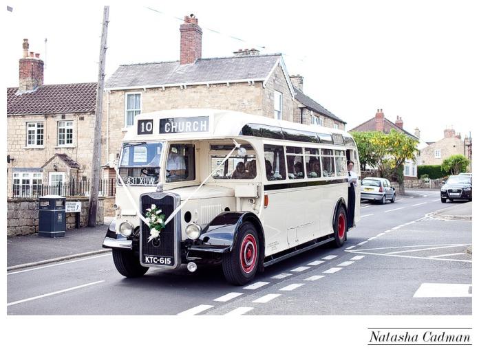 Vintage bus.White wedding. Burlap. Clifton Church. East Keswick