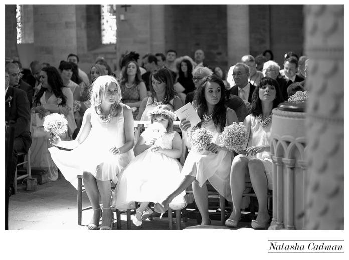 Vintage bus.White wedding. Burlap. Clifton Church. East Keswick. White hydrangeas. bridesmaids in church