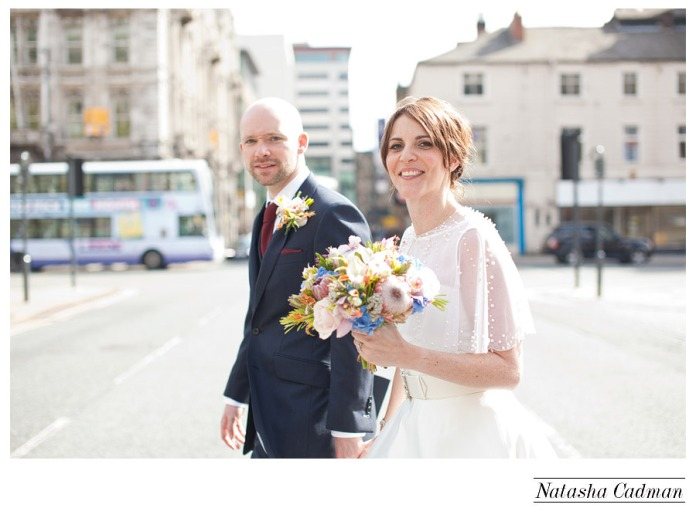 Leeds Club Leeds, modern wedding photography leeds, fine art photography leeds, city wedding photographer leeds, Leeds Town Hall, Spring Wedding, Sparkly headpiece, blue groom suit, natural light photographer